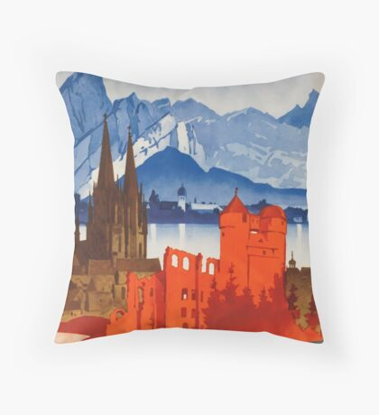 Vintage Motoring in Germany Travel Vacation Holiday Advertisement Art Posters Throw Pillow