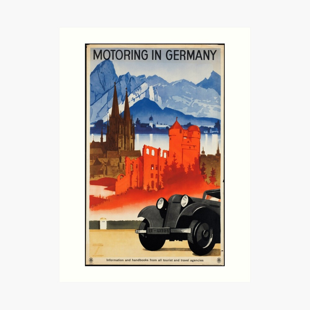 Vintage Motoring in Germany Travel Vacation Holiday Advertisement Art Posters Art Print