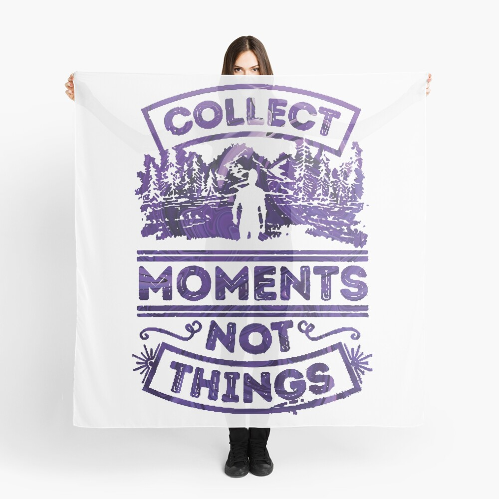 Collect Moments not Things blue and white Scarf