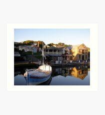 reflections in an historic harbour Art Print