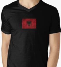 8478e2e56 Old and Worn Distressed Vintage Flag of Albania Men s V-Neck T-Shirt