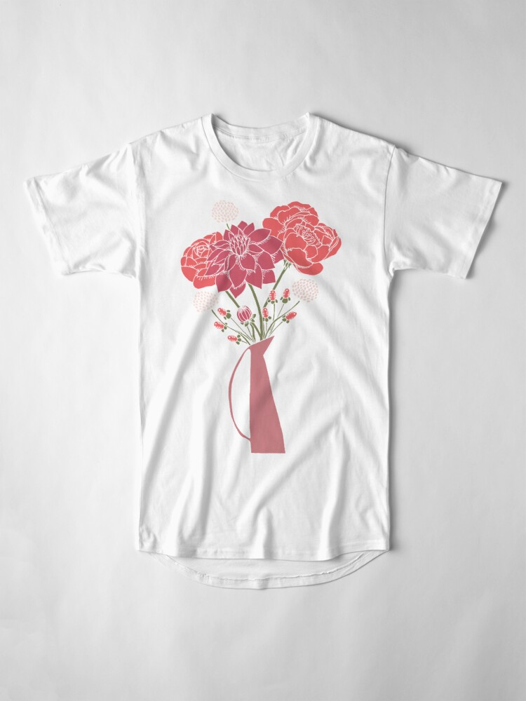 Alternate view of Pink Flower Bouquet in a Vase Long T-Shirt