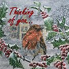Robin in Snow - Thinking of You Card by EuniceWilkie