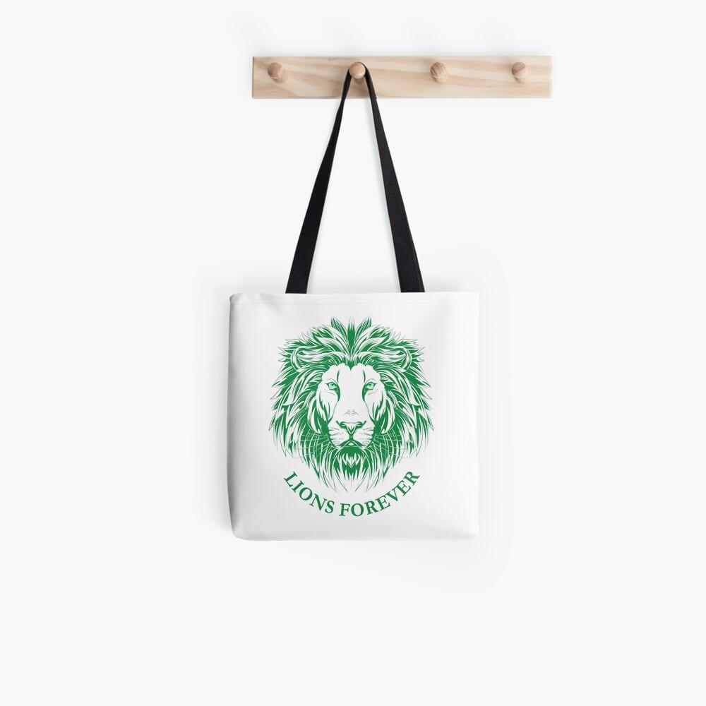 Lions Forever (Grün auf Weiß) Stofftasche