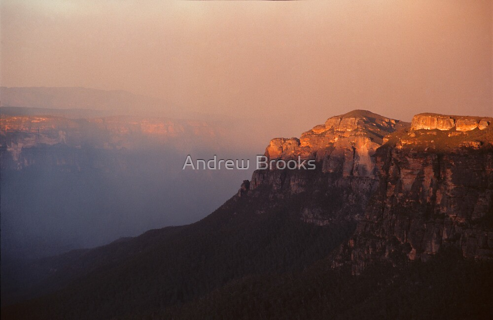 Bush Fire over Grose Valley Wilderness by Andrew Brooks