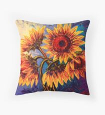 The Five Sunflowers Throw Pillow