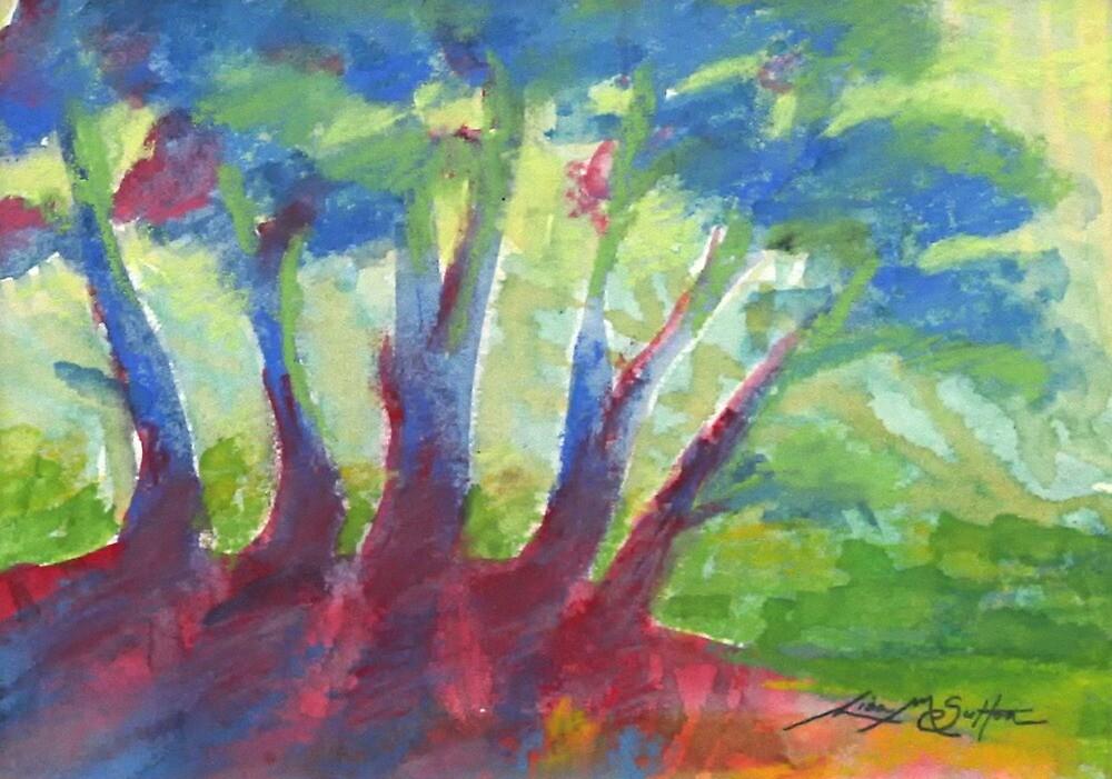 Bright Beaming - Sunrise Through the Trees by Lisa Jasak