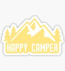 Pegatina Happy Camper (montañas amarillas)