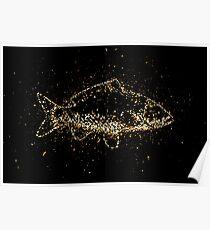 Animal carp fish golden ornament Gold Poster