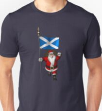 Santa Claus With Flag Of Scotland T-Shirt