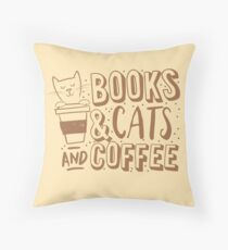 BOOKS and CATS and COFFEE Floor Pillow