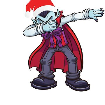 Dabbing Vampire With Santa Claus Hat Dab Dance Christmas Holiday by BullQuacky