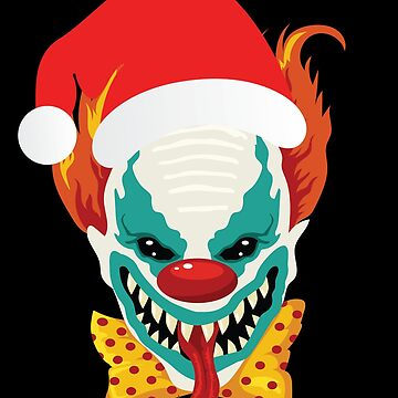 Evil Scary Clown With Santa Claus Hat Christmas Holiday by BullQuacky