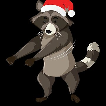 Flossing Racoon With Santa Claus Hat Floss Dance Christmas Holiday by BullQuacky