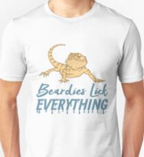 Beardies Lick Everything - Funny Reptile Gift Slim Fit T-Shirt