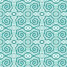 Helices, Teal nad White, Arabesque Pattern by clipsocallipso