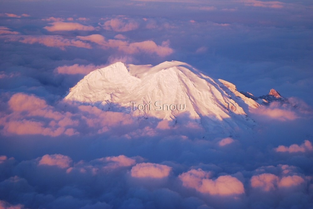 Sunset on Rainier from 33,000 feet by Tori Snow