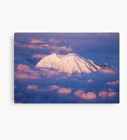 Sunset on Rainier from 33,000 feet Canvas Print