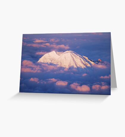 Sunset on Rainier from 33,000 feet Greeting Card