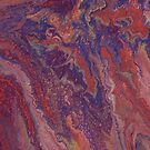 Marbled paint pour red universe by Kitty van den Heuvel