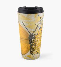 Explosión geométrica mariposa amarilla Taza de viaje