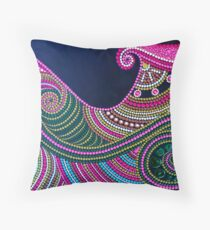 Abstract Dot Painting WAVES by Dutch Artist Tessa Smits Throw Pillow