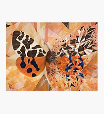 Mariposa naranja y explosión geométrica azul Lámina fotográfica