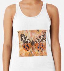 Mariposa naranja y explosión geométrica azul Camiseta con espalda nadadora