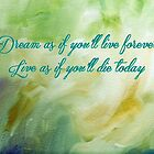 Dream as if you'll live forever, Live as if you'll die today by Barbny