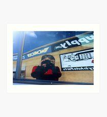 Self-Portait in Car Window Art Print