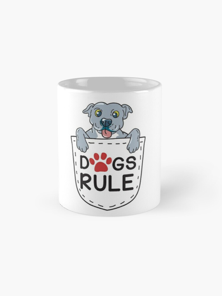 'Blue Nose Pit Bull Puppy In Pocket T-Shirt :Dogs Rule' Mug by Dogvills