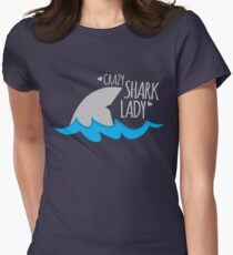 Crazy Shark lady Women's Fitted T-Shirt