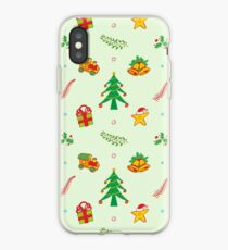 Christmas tree, toy train, Xmas gift, bells and smiling star in a joyful pattern iPhone Case