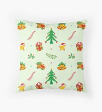 Christmas tree, toy train, Xmas gift, bells and smiling star in a joyful pattern Throw Pillow