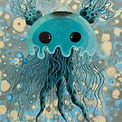 Amazing 3D Jellyfish floating in the deep blue sea gray and green tone original painting by See Foon by See Foon