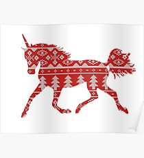 Unicorn silhouette knitting pattern Poster