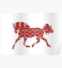 Horse silhouette knitting pattern Poster