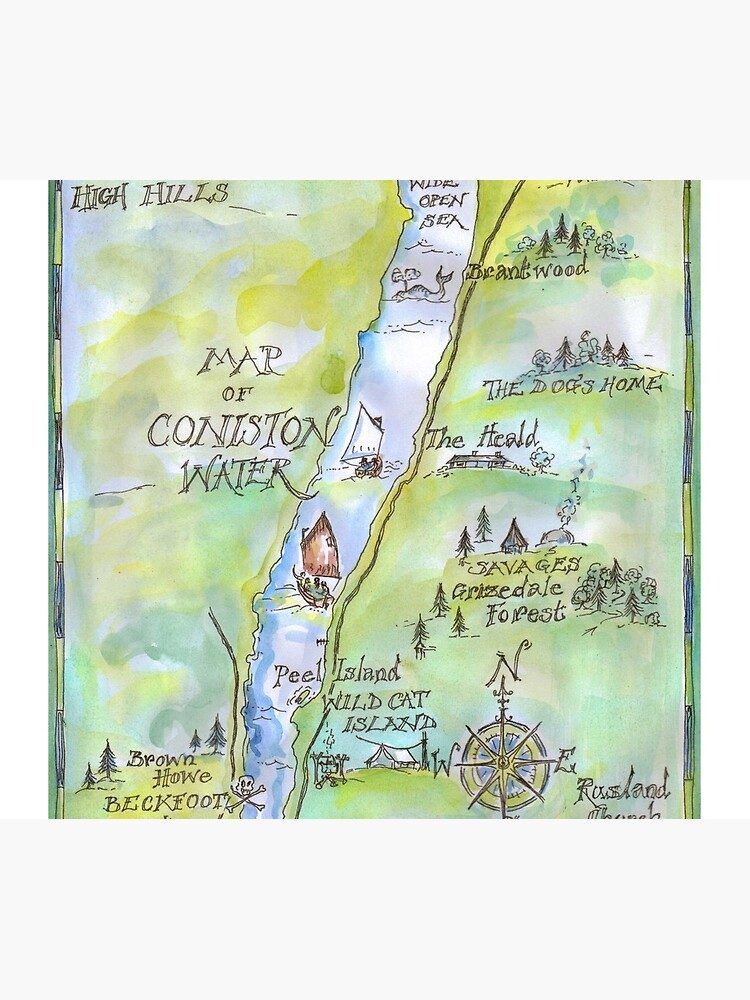 Swallows and Amazons map of Coniston Water by SophieNeville
