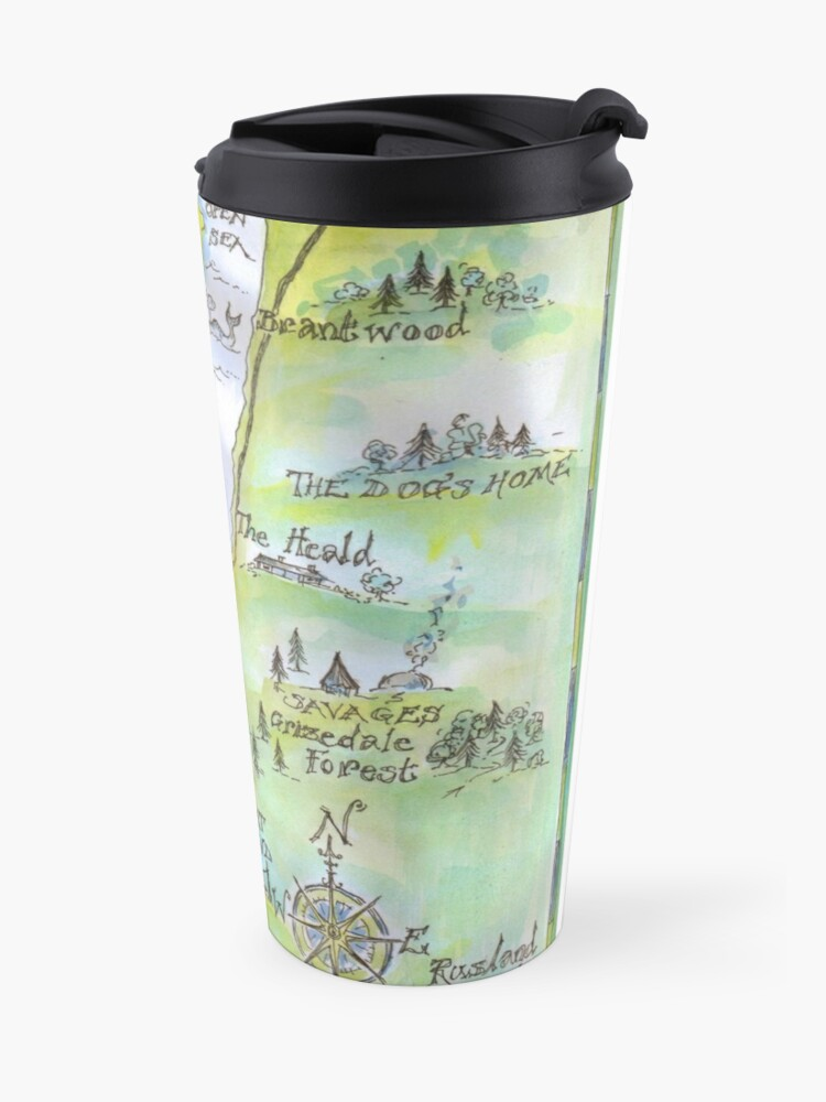 Alternate view of Swallows and Amazons map of Coniston Water Travel Mug