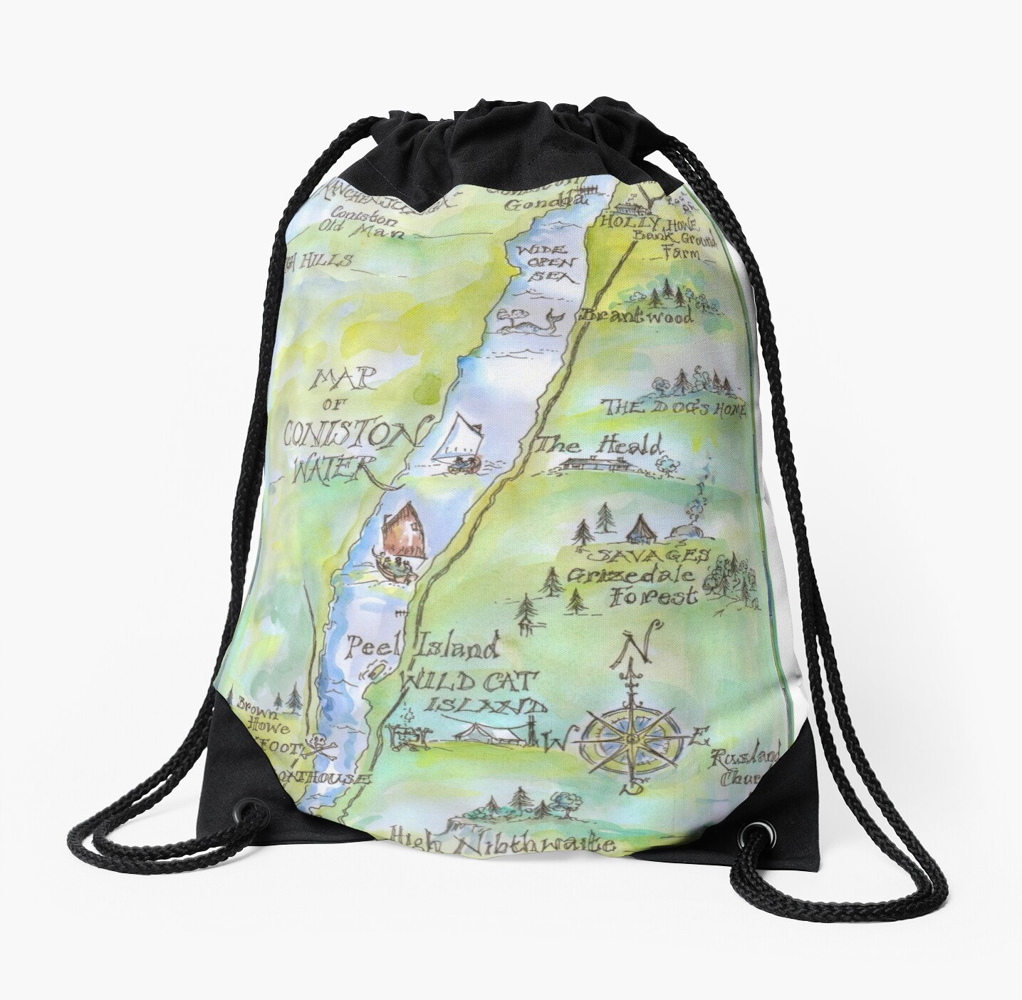 Swallows and Amazons map of Coniston Water by Sophie Neville