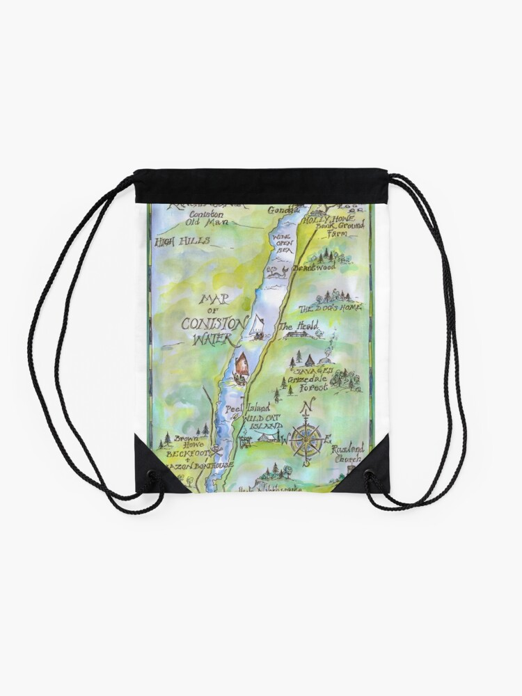 Alternate view of Swallows and Amazons map of Coniston Water Drawstring Bag