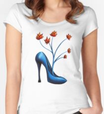 High Heel Shoe And Flower Bouquet Women's Fitted Scoop T-Shirt