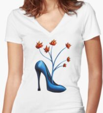 High Heel Shoe And Flower Bouquet Women's Fitted V-Neck T-Shirt