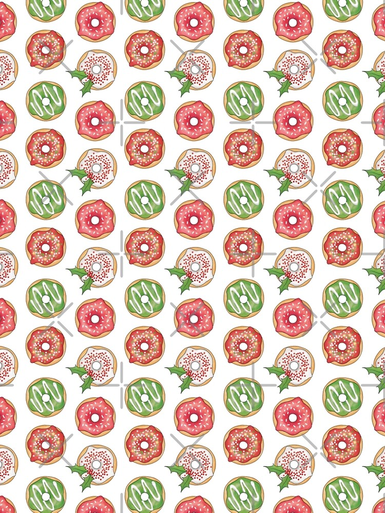 Christmas Donuts Red and Green Pattern by HazelFisher
