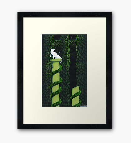 Alabaster the Cat and a Butterfly. Framed Print