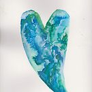 blue watercolor heart by SJohnsonartist