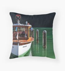 Boat on Green Water Throw Pillow