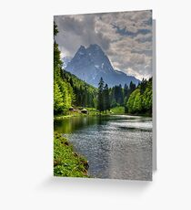 Lake Riessersee and Mount Alpspitz. Germany. Greeting Card