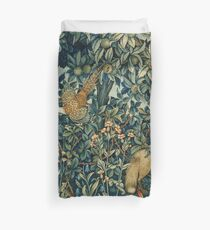 GREENERY, FOREST ANIMALS Pheasant and Fox Blue Green Floral Tapestry Duvet Cover