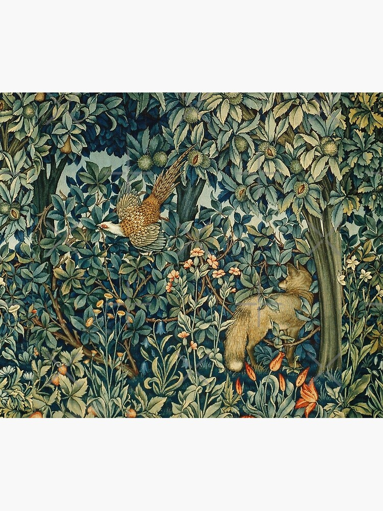 GREENERY, FOREST ANIMALS Pheasant and Fox Blue Green Floral Tapestry by BulganLumini